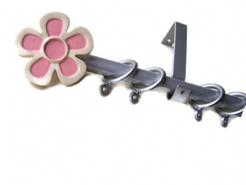 1.2m - 2m Extendable Curtain Pole with Pink & Silver Flower Finials
